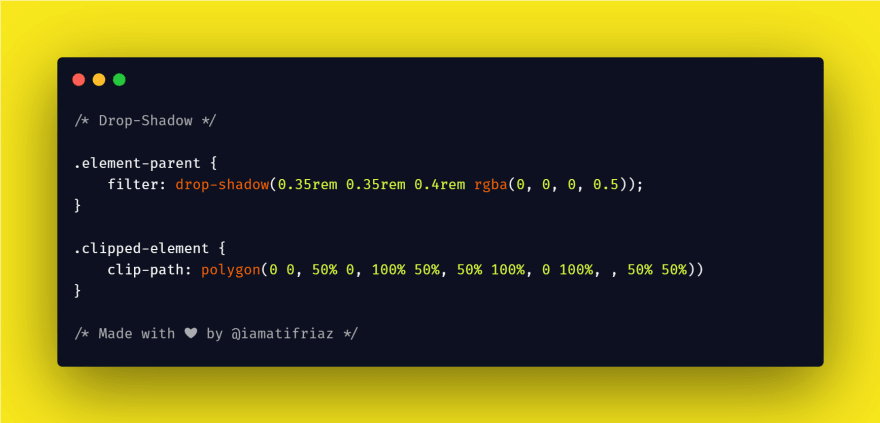 Drop-shadow is one of CSS Filter and by using this We can create a drop shadow for every clipped element by applying a drop-shadow filter to the element's parent