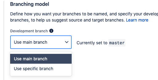 BitBucket change development branch from master to main