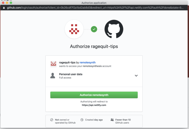 authorize permissions with GitHub