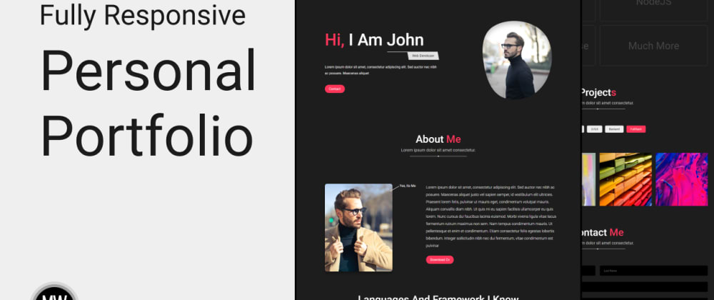Cover Image for How to make fully responsive modern portfolio using pure HTML, CSS and JS.