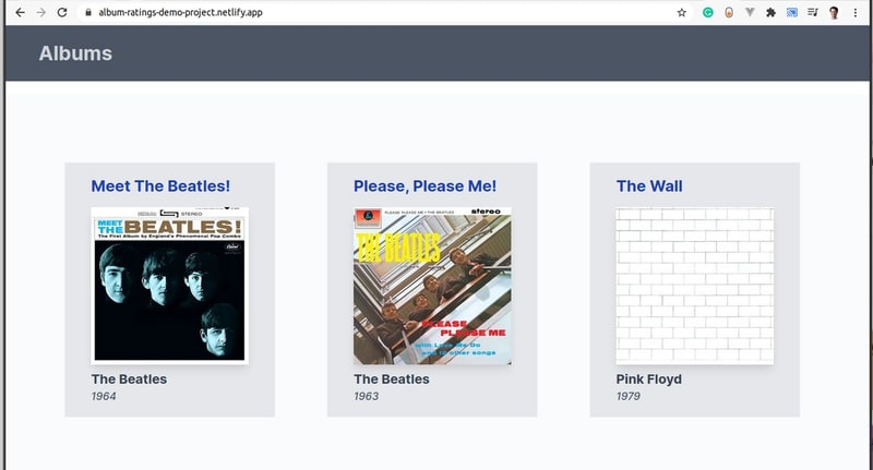Screen shot of the single page application home screen showing a list of albums