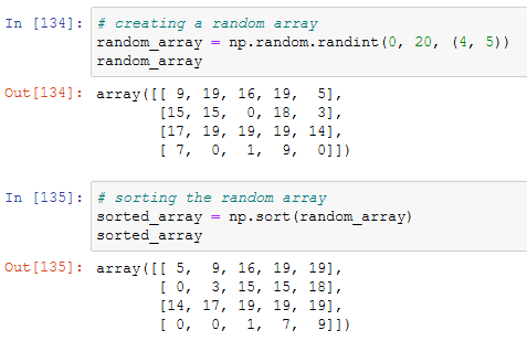 sorting an array with the dedicated function