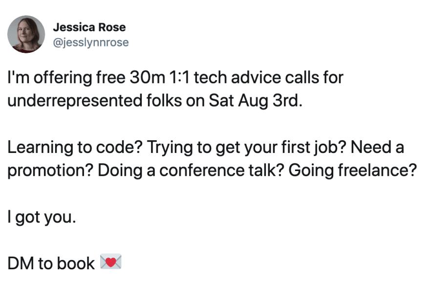 A tweet offering 1:1 calls