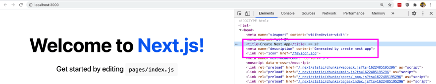 HTML Head managed by Next.js