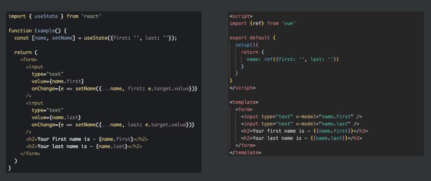 Code comparison for form component