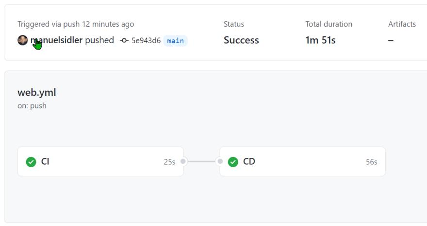 GitHub action web