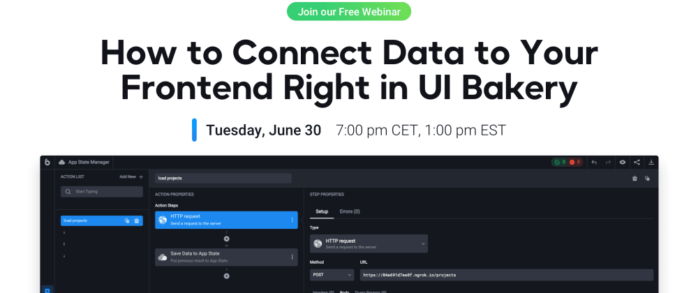Cover image for API & Data connection in UI Bakery low-code platform – Webinar