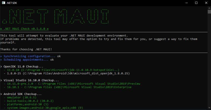 MAUI Check tool screenshot