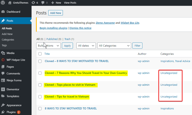 Get an ID List of 3 posts to bulk deselect a category for them.