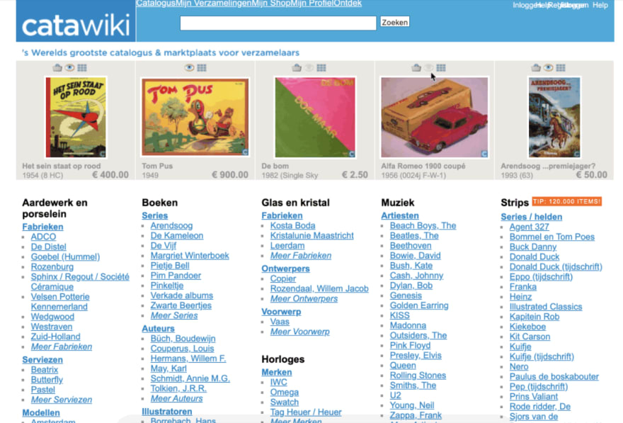 Catawiki home page in it's early days