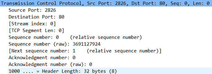 TCP packet parameters