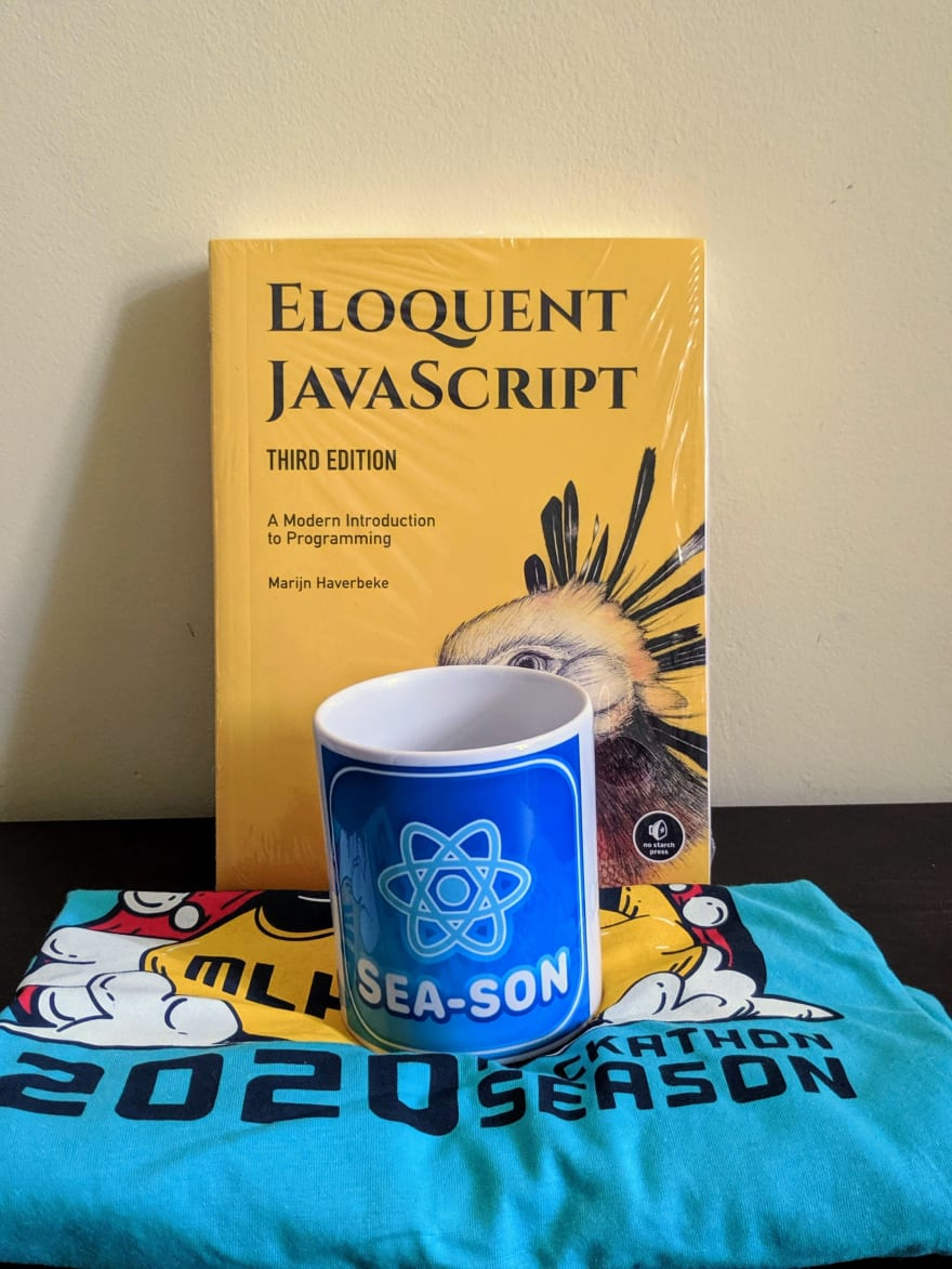 Eloquent Javascript book and MLH swag