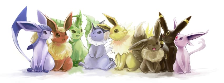 A drawing of all the Eevee evolutions sitting together