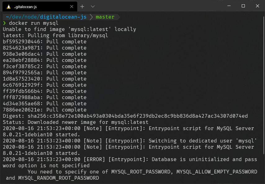 Docker running mysql