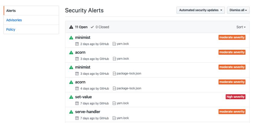 github security alert