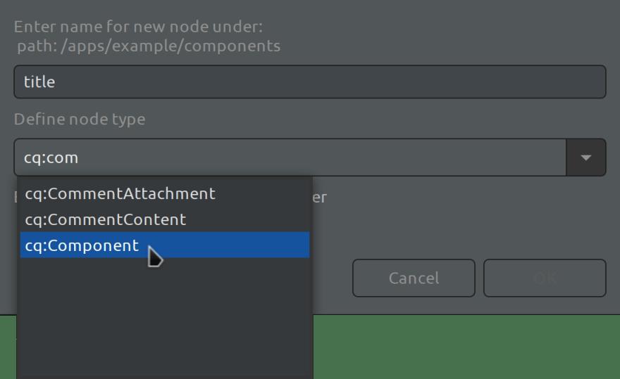 Eclipse AEM Project example - Enter Node Name dialog for nt:component node