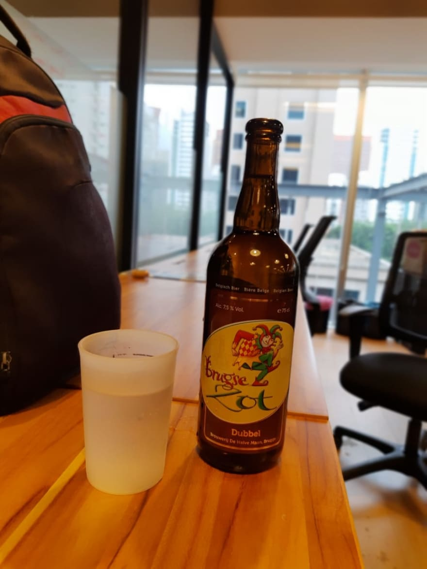 Bottle of the Bugse Zot beer fulfilled by water