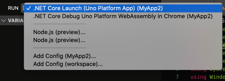 .NET Core Launch (Uno Platform App)