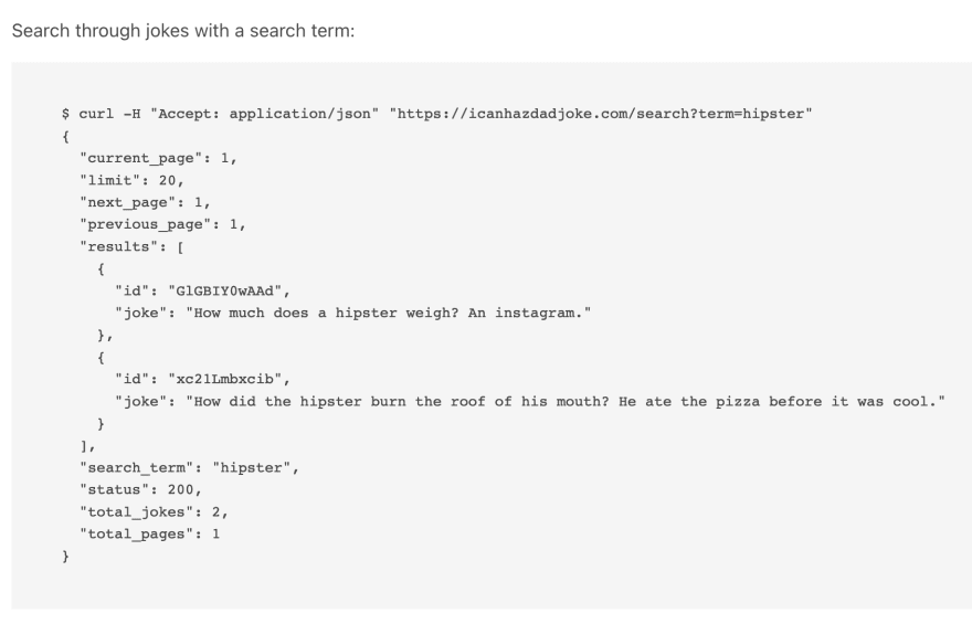 icanhazdadjoke API documentation