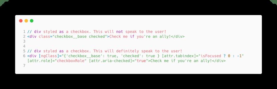 ARIA in an Angular template