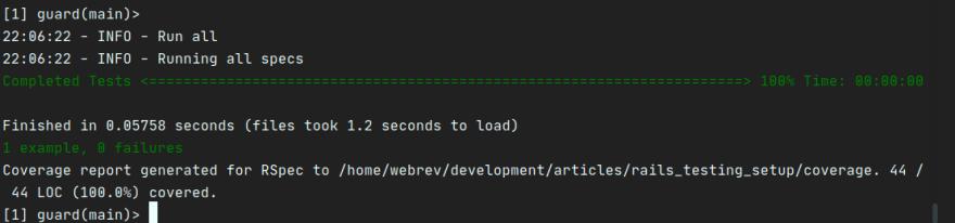 Screenshot of code coverage