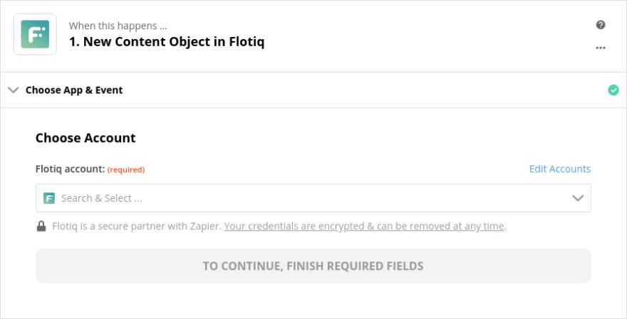 Choose Flotiq Account in Zapier