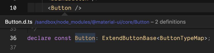 screenshot of typescript code for button component