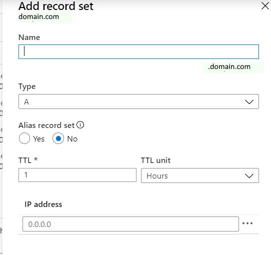 adding an A record set