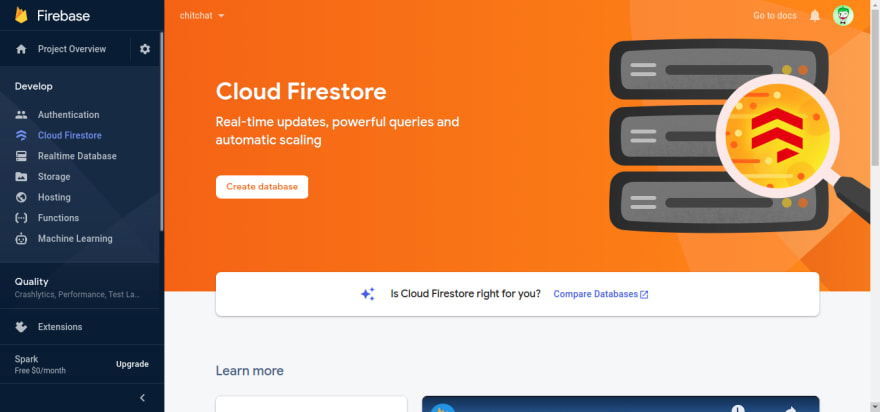 Firebase Firestore Menu