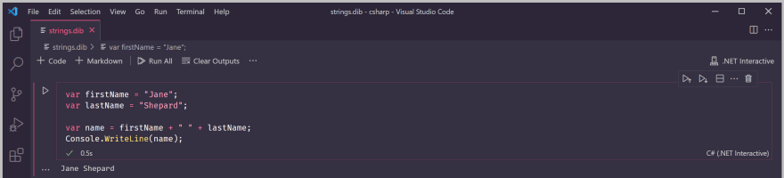 Adding a space between the concatenated strings