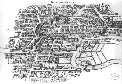 Old map of the city of Königsberg with its 4 landmasses and 7 bridges visible