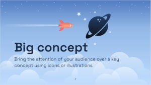 """Slide that says """"Big Concept"""" with some space-like images"""