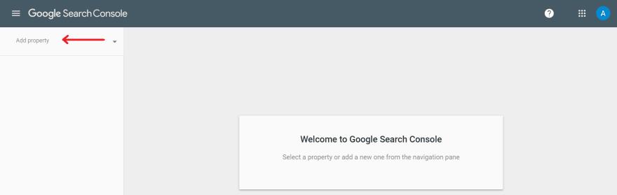 Adding a Google Search Console property.