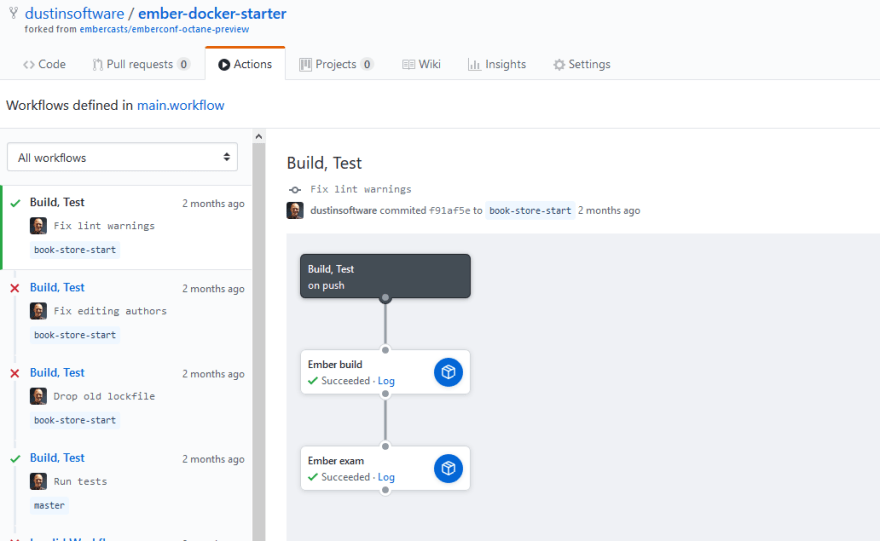 A screenshot of tests running using the same Dockerfile on Github Actions