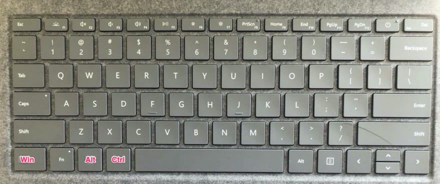 Changed positions of Ctrl, Alt, and Win key on the Window's keyboard.