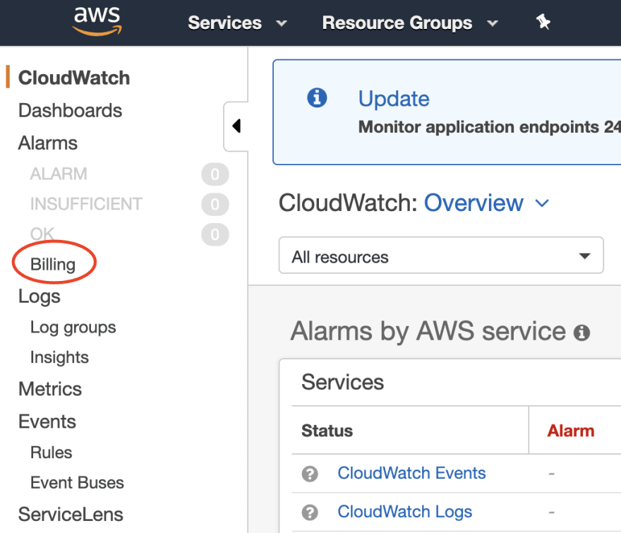 Image of Billing tab under CloudWatch service