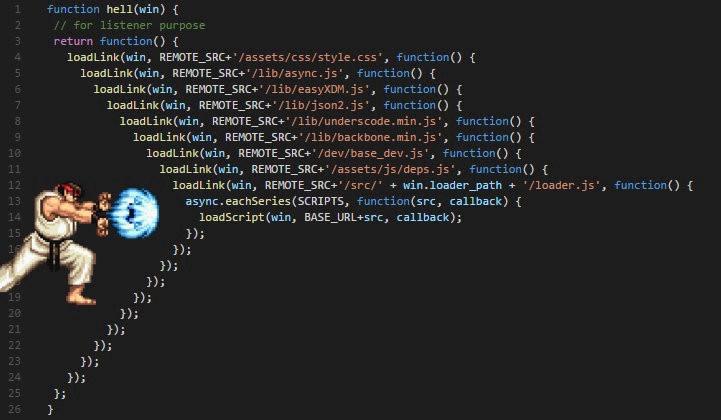Imagen de un Callback hell en Javascript
