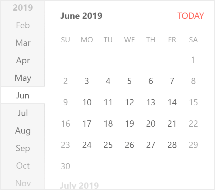 Default KendoReact Calendar showing June 2019