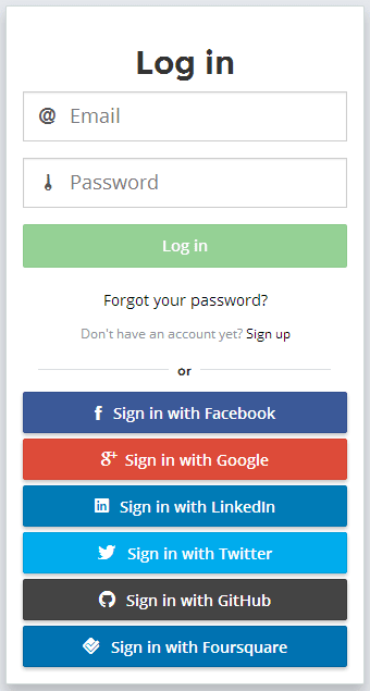 An example login screen for a mobile app