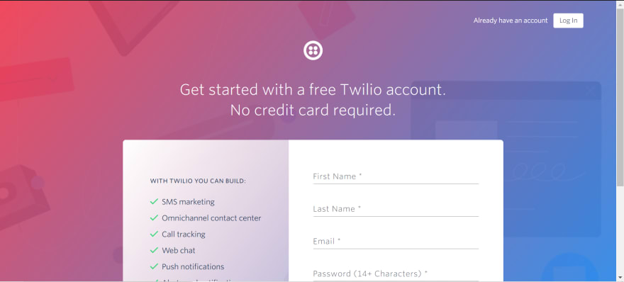 Twilio signup page