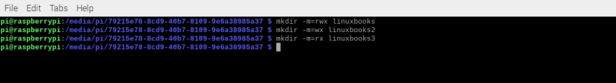 mkdir -m option output