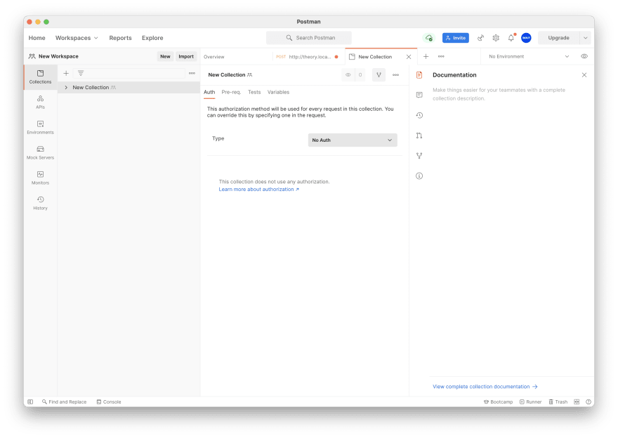 A new collection in Postman