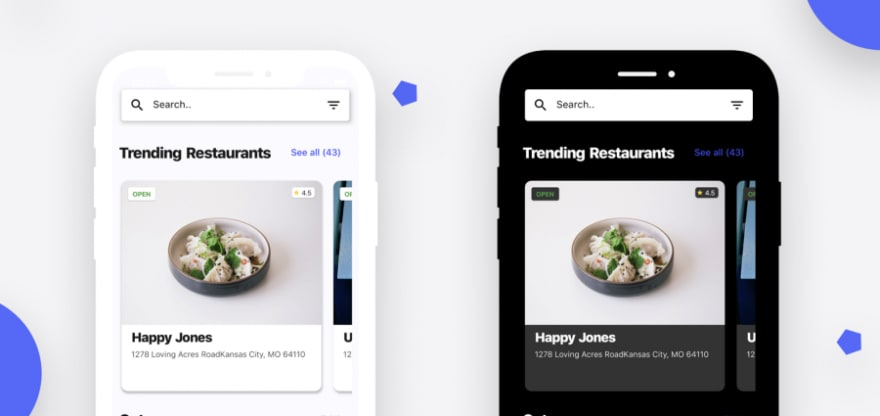 Flutter representation of a Restaurant app UI