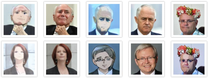 Selfie2Anime - Australia's Prime Ministers