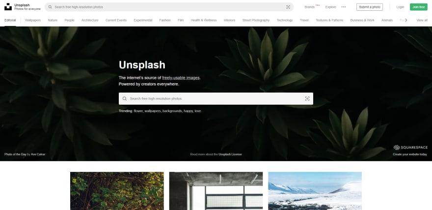 Screenshot of Unsplash