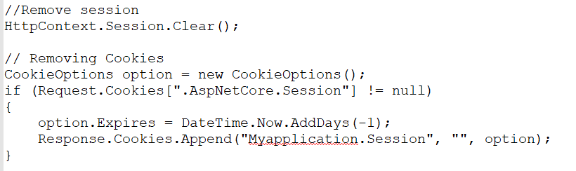 Removing session values and authentication cookies.