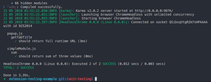 Screenshot of successful test run with sinon-chrome ran