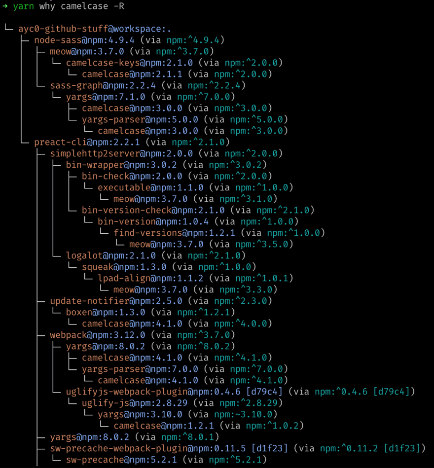 """Output of the command """"yarn why <package> -R"""", showing the same results as before, but also including all of the parent deps of those deps, recursively"""