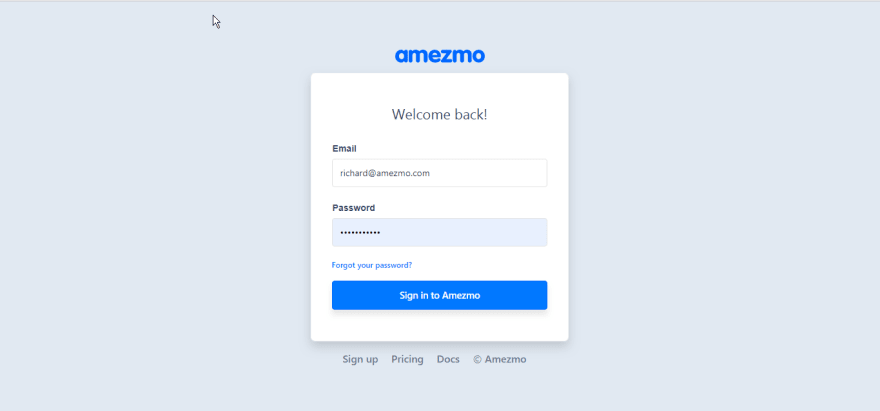Amezmo - Deploy Your First Application