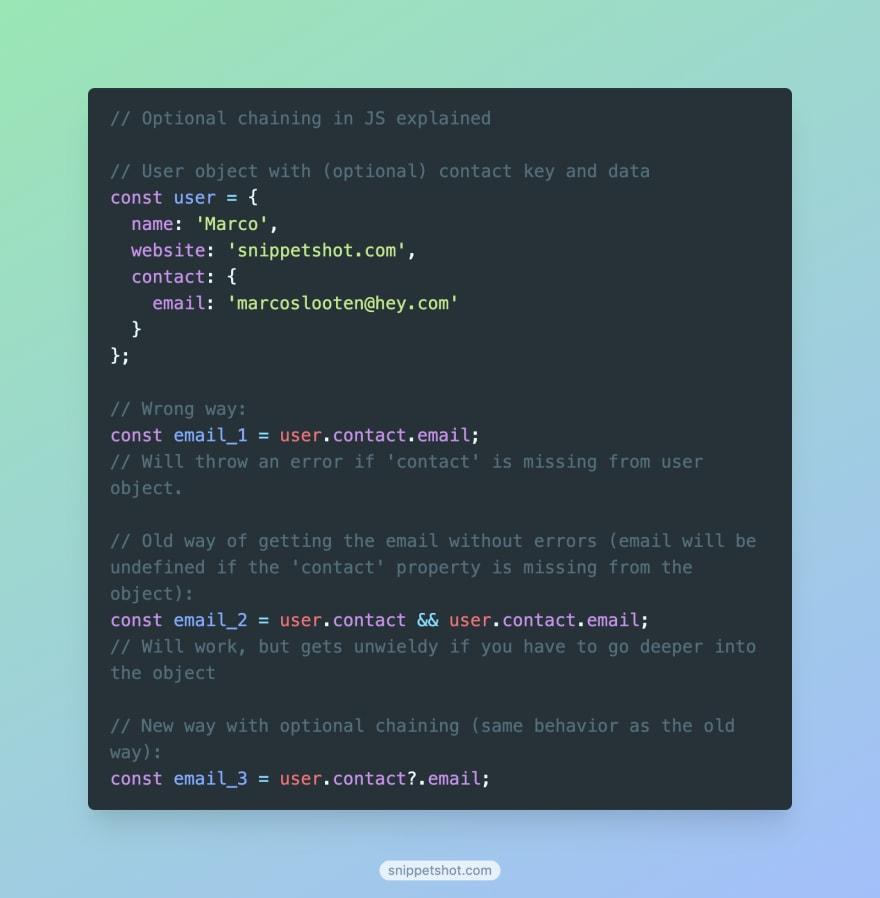 Optional chaining code screenshot